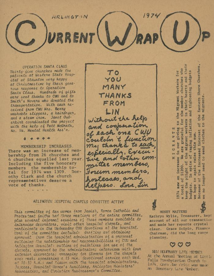 """Current Wrap Up,"" Church Women United Newsletter, 1974"