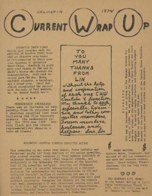 """""""Current Wrap Up,"""" Church Women United Newsletter, 1974"""