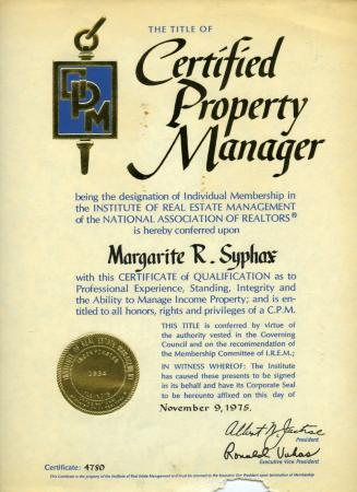Margarite Syphax's Property Management Certificate