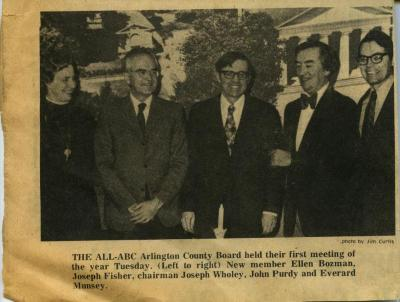 Arlington County Board's first meeting, 1974