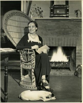 Gertrude Crocker with her dog