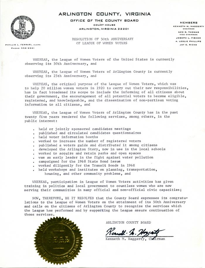 "Arlington County Board ""Resolution of 50th Anniversary of League of Women Voters,"" 1969"