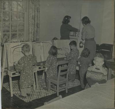 Overlee Preschool Children Painting in the Classroom, 1950s