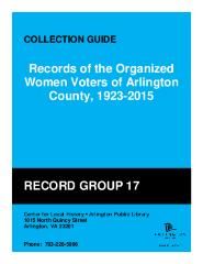 Records of the Organized Women Voters, 1923-2015