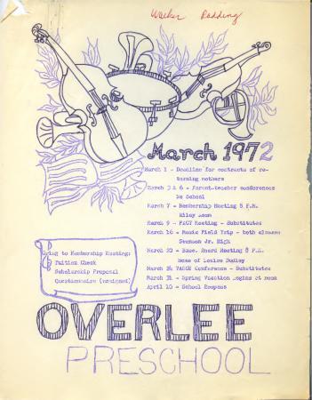 Overlee Preschool March 1972 Newsletter