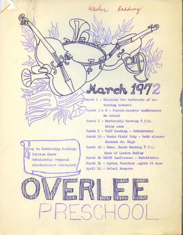 Overlee Preschool March 1972 Newsletter