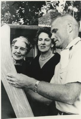 Eleanor Lee Templeman, Leone Bucholtz, and John Glenn Signing a Ski