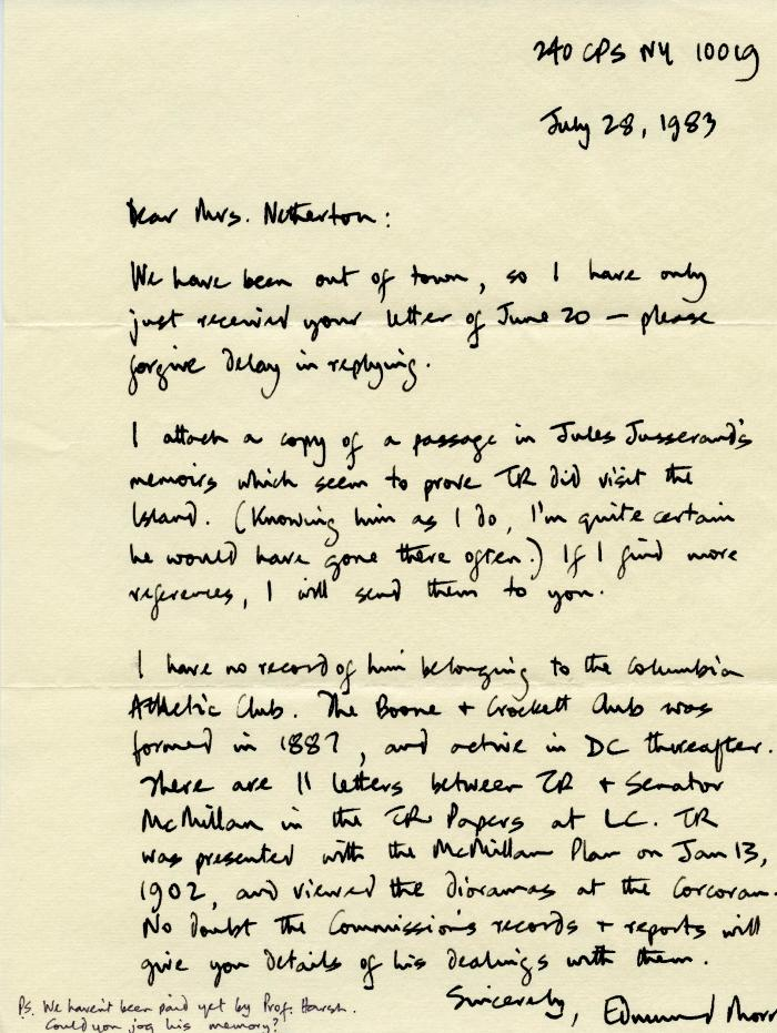 Theodore Roosevelt Island Correspondence with Edmund Morris