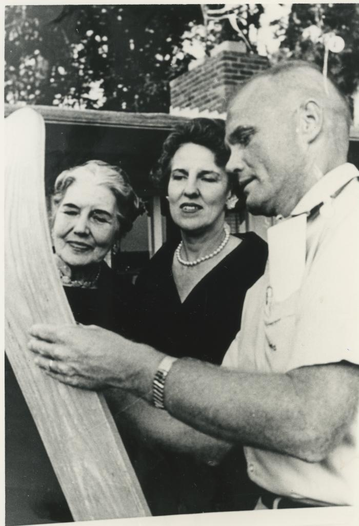 Eleanor Lee Templeman, Leone Bucholtz, and John Glenn Signing a Ski
